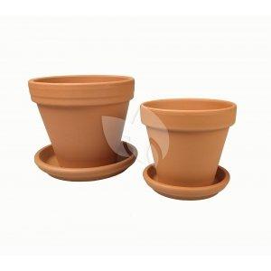 Terracotta bloempotten met schotel duo M mix set 25–28 cm