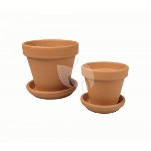 Terracotta bloempotten met schotel duo S mix set 21-25 cm