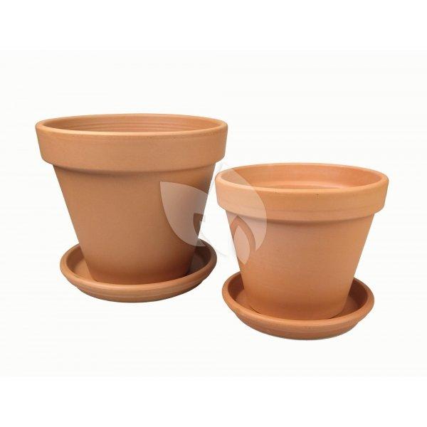 Terracotta bloempotten met schotel duo XL mix set 31–35 cm