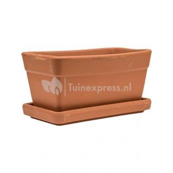 Terracotta pot rechthoekige balkonbak S 30x16 cm met schotel set