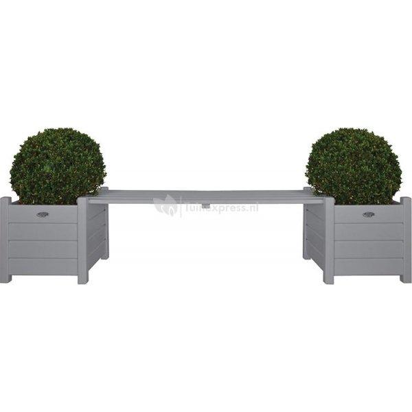 Tuinbank met bloembakken grijs