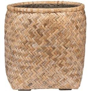 Bohemian Zayn M Bamboo ronde beige plantenbak 55x60cm voor binnen en buiten