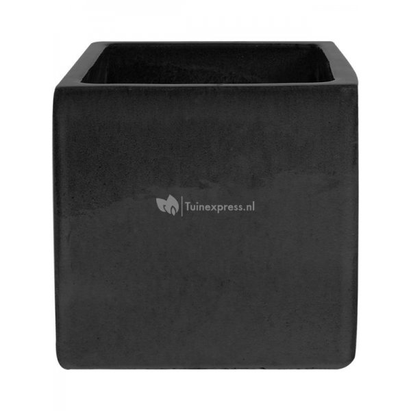 Pot Cube black vierkante zwarte plantenbak buiten 40x40x40 cm