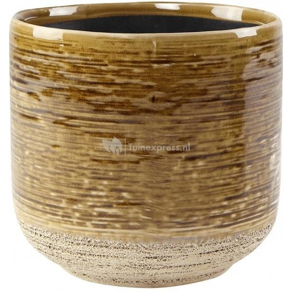 Pot Issa Yellow 18x17cm gele ronde bloempot voor binnen