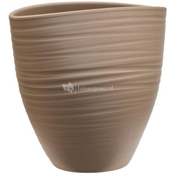 Planter Groove Ovaal Turin Greybeige 17x26 cm beige ovale planter voor binnen