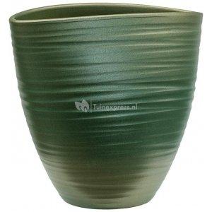 Planter Groove Ovaal Turin Stone Pearl Green 17x26 cm groene ovale planter voor binnen