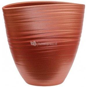 Planter Groove Ovaal Turin Stone Pearl Red17x26 cm rode ovale planter voor binnen