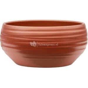Pot Groove Bowl Monaco Stone Pearl Red 24x11 cm rode ronde bloempot voor binnen