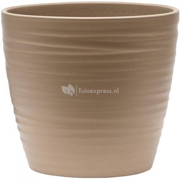 Pot Groove Couple Boston Greybeige 17x15 cm beige ronde bloempot voor binnen