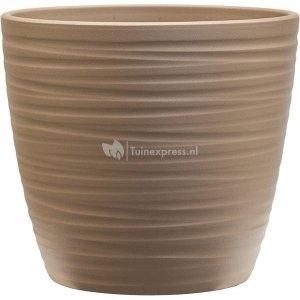 Pot Groove Couple Boston Greybeige 22x20 cm beige ronde bloempot voor binnen