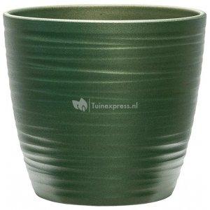 Pot Groove Couple Boston Stone Pearl Green 22x20 cm groene ronde bloempot voor binnen