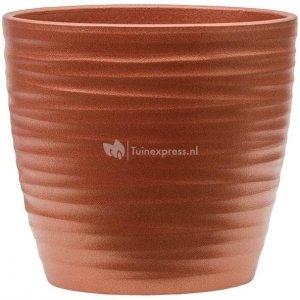 Pot Groove Couple Boston Stone Pearl Red17x15 cm rode ronde bloempot voor binnen