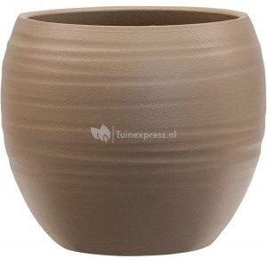 Pot Groove Globe Cannes Greybeige 15x13 cm beige ronde bloempot voor binnen