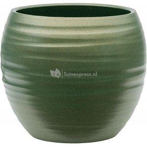 Pot Groove Globe Cannes Stone Pearl Green 15x13 cm groene ronde bloempot voor binnen