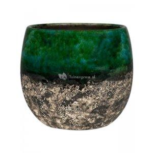 Pot Lindy Green Black donkergroene ronde bloempot voor binnen 30 cm